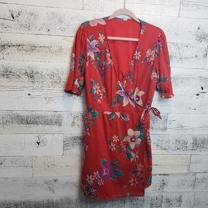 Large Old Navy Tropical Lined Wrap Dress